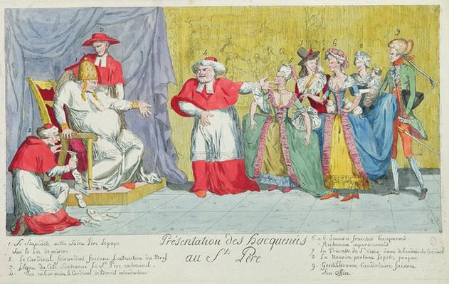 Presentation of the Mares to the Holy Father, caricature of the introduction of Adelaide