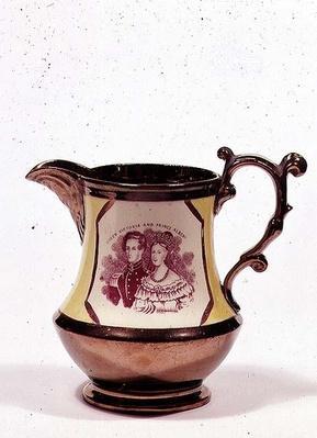 Lustreware jug commemorating the wedding of Queen Victoria, 1840