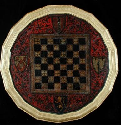 Chessboard with four coats of arms, c.1400-30