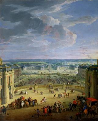 Perspective View from the Chateau of Versailles of the Place d'Armes and the Stables, 1688