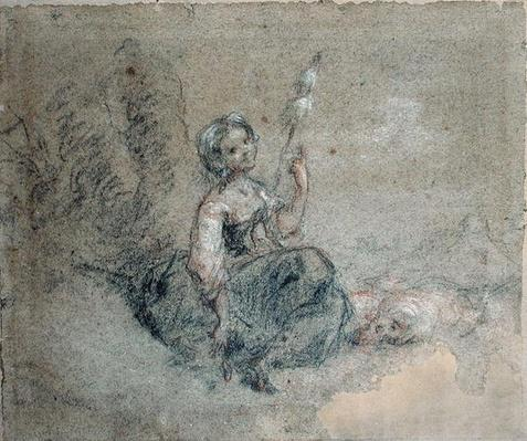 A Young Shepherdess Spinning