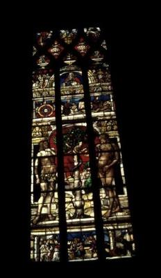 Window depicting the Temptation of Adam and Eve