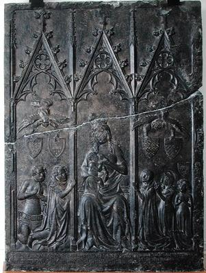 Funerary stela of the Sacquespee family, from the St. Nicaise cemetery, Tournai, 1376