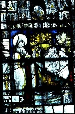 Window depicting the Creation of Adam and Eve, mid-15th century