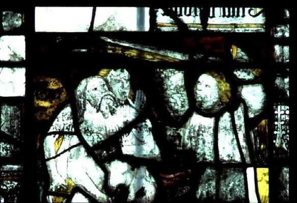 Window depicting Adam and Eve expelled from the Garden of Eden, mid-15th century