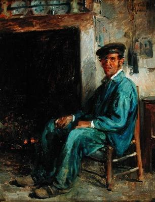 A Peasant in Front of a Hearth, 1859