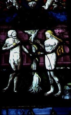 Window depicting Adam and Eve and the Serpent, 16th-18th century