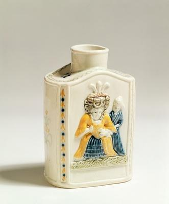 Prattware tea caddy, decorated with caricatures of ladies' fashions, c.1790-1800