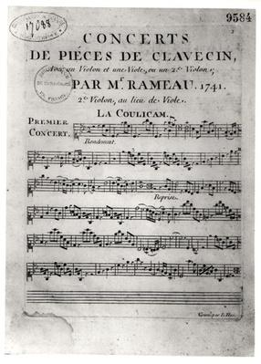 Score sheet for 'Concerts de Pieces de Clavecin' by Jean-Philippe Rameau