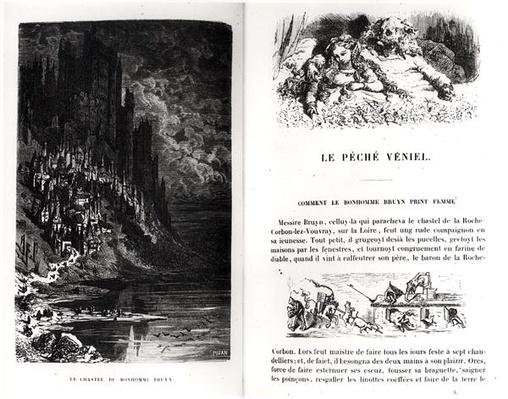 Two illustrated pages from 'Les Contes Drolatiques' by Honore de Balzac