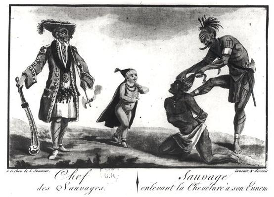 The Chief of the Savages Dressed as a European, a Child and a Savage Scalping his Enemy, from 'Tableau Cosmographique de l'Amerique', 1787