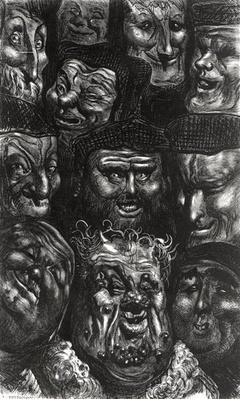 Eleven grotesque faces from 'Les Contes Drolatiques' by Honore de Balzac