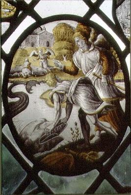 Window depicting Tobias and Archangel Raphael at the River Tigris