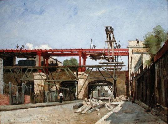 Workers Raising the Ring Road Railway Tracks on the Bridge of the Rue de la Voute, Paris, 1888