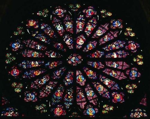Death and Assumption of the Virgin and the Heavenly Choir, from the west rose window, c.1260