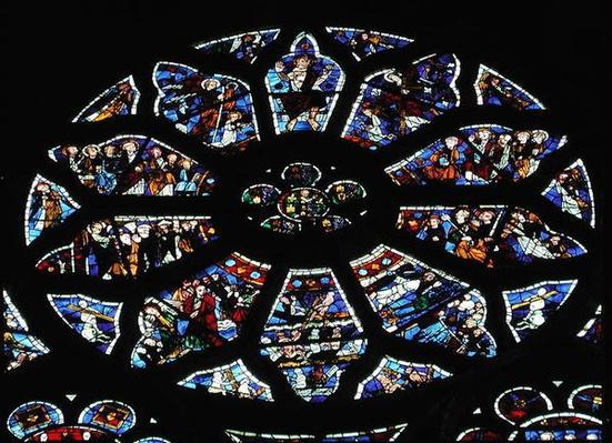 Rose window depicting the Last Judgement