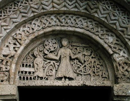 Tympanum depicting Christ of Revelation holding the Seven Stars in His Hand