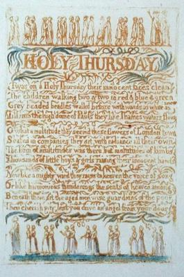 'Holy Thursday', plate 23 from 'Songs of Innocence', 1789