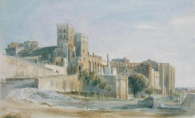 The Cathedral and Palace of the Popes, Avignon, 1836