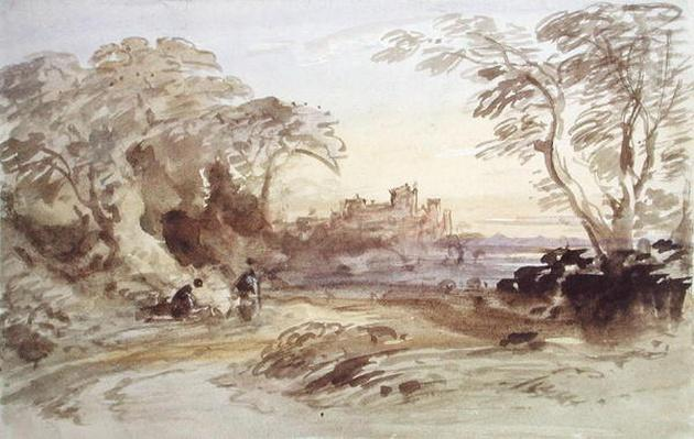 Landscape with Figures and Distant Castle