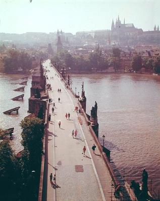 View of the Charles Bridge over the River Vltava