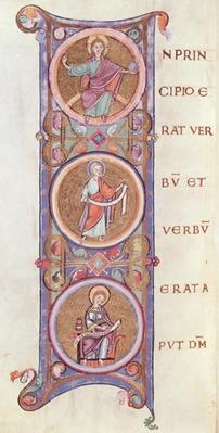 Ms 14 fol.60v Historiated initial 'I' depicting the beginning of the Gospel of St. John