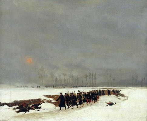 The War of 1870-71: An Infantry Column on their Way to a Raid, 1872
