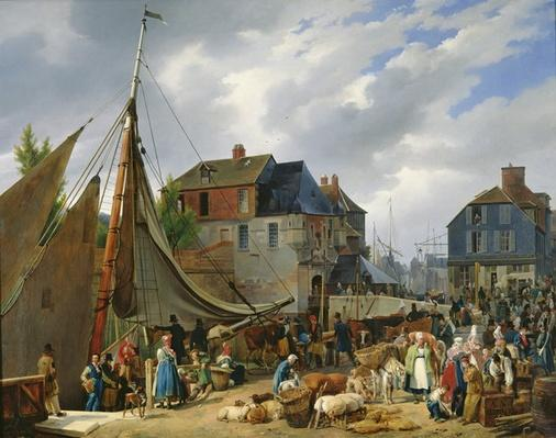 Loading Livestock onto the 'Passager' in the Port of Honfleur, 1823