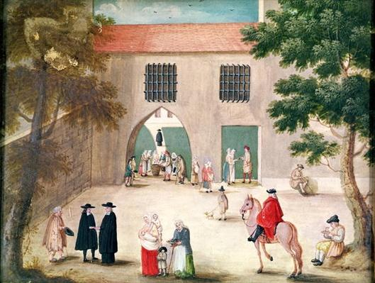 Distributing Alms to the Poor, from 'L'Abbaye de Port-Royal', c.1710