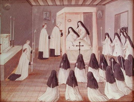 Administration of Holy Communion to a Nun, from 'L'Abbaye de Port-Royal', c.1710