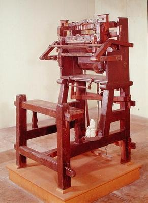 First loom for weaving stockings, 1750