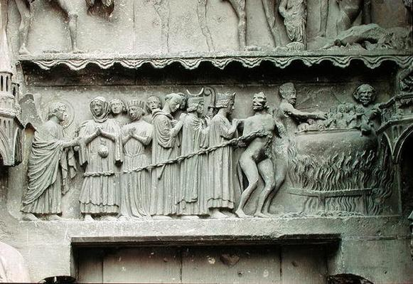 Tympanum from the left portal of the north transept depicting the Last Judgement, detail of the damned being led to execution, 1225-40