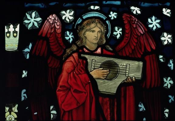 Detail of the Angel Musician, made by William Morris and Co., 1882