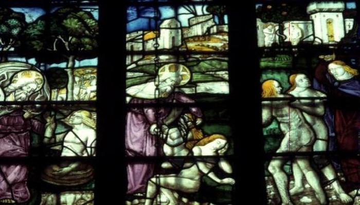 Window depicting Adam and Eve, the Creation and the Expulsion