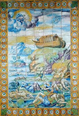 Tile depicting the Story of Noah: The Ark on Mount Ararat after the Flood, made in Rouen