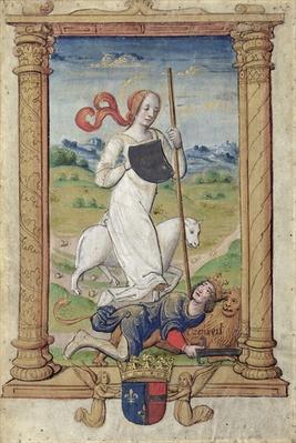 CL 22718A Humility Against Pride, from 'Rondeaux des Vertus', created for Louis de Savoie
