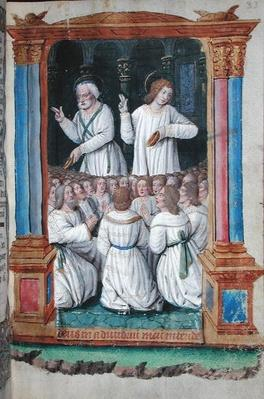 Fol.33r St. Peter and St. John Exhorting the Faithful, from 'Heures a l'Usage de Rome'