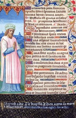 Fol.36v Text of the Magnificat with a portrait of Baruch, from 'Heures a l'Usage de Rome'