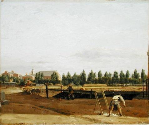 Excavating the Regent's Canal, with a view of Marylebone Chapel, c.1812