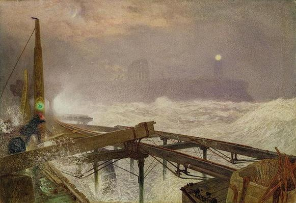 Blue Lights, Teignemouth Pier - Lighting the Lamps at Sunset, 1868
