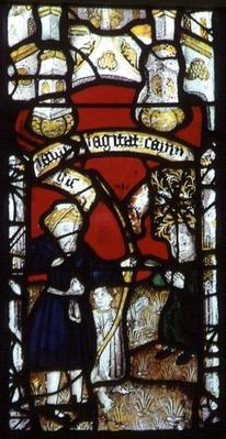 Church window depicting Cain shot by Lamech, 15th century