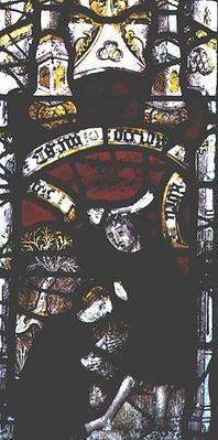 Window depicting Cain and Abel's offerings, British, 15th century