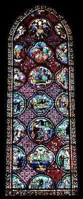 Lancet Window depicting the Parable of Lazarus and the Rich Man