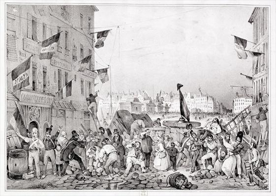 Barricade at the Rue Dauphine, 29th July 1830, engraved by H. Delaporte