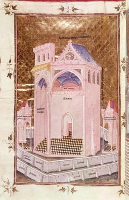 Ms 292 Tome 3 fol.214v The Temple of Jerusalem, from 'Postilles sur la Bible' by Nicolas de Lyre