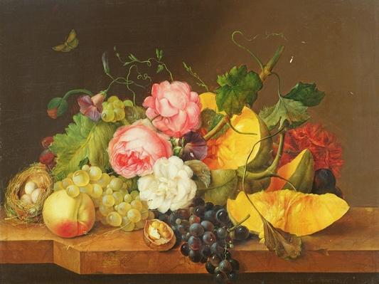 Still life with Flowers and Fruit, 1821