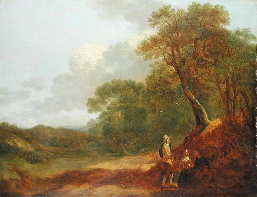 Wooded Landscape with a Man Talking to Two Seated Women