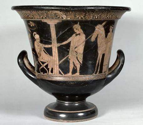 Attic red-figure kalyx krater depicting a Hoplite returning from the war