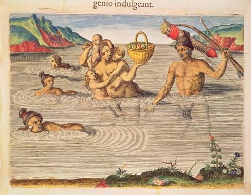 A Family Crossing a River, from 'Brevis Narratio..', engraved by Theodore de Bry