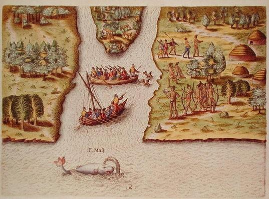 The French Discover the River of May, from 'Brevis Narratio..', engraved by Theodore de Bry